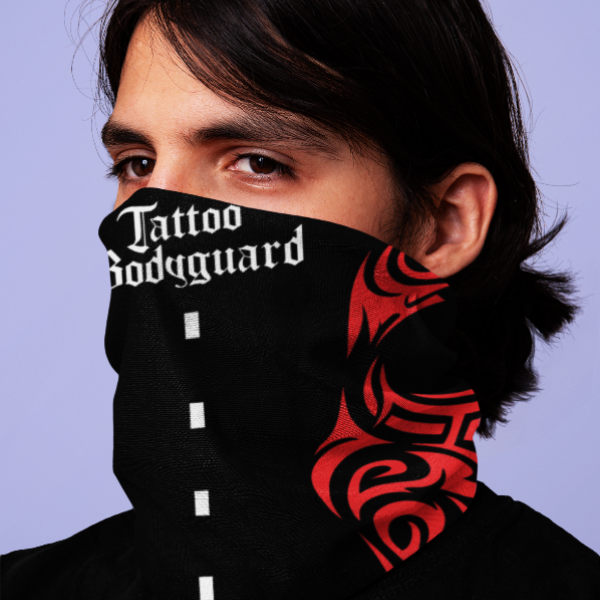 Tattoo Bodyguard - šal & maska (crveno, crno, bela)